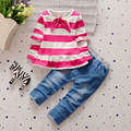 BibiCola 2017 New casual kid girl stripe clothing set T-shirts+ jeans pants 2pcs tracksuit set baby girls clothes sets spring