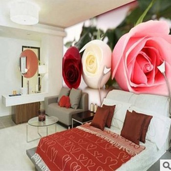 beibehang Large mural TV wallpaper marriage room houses bedside background red rose wall paper papier peint  papel de parede beibehang custom size abstract space corridor white sphere 3d stereo tv background wallpaper papel de parede 3d papier peint