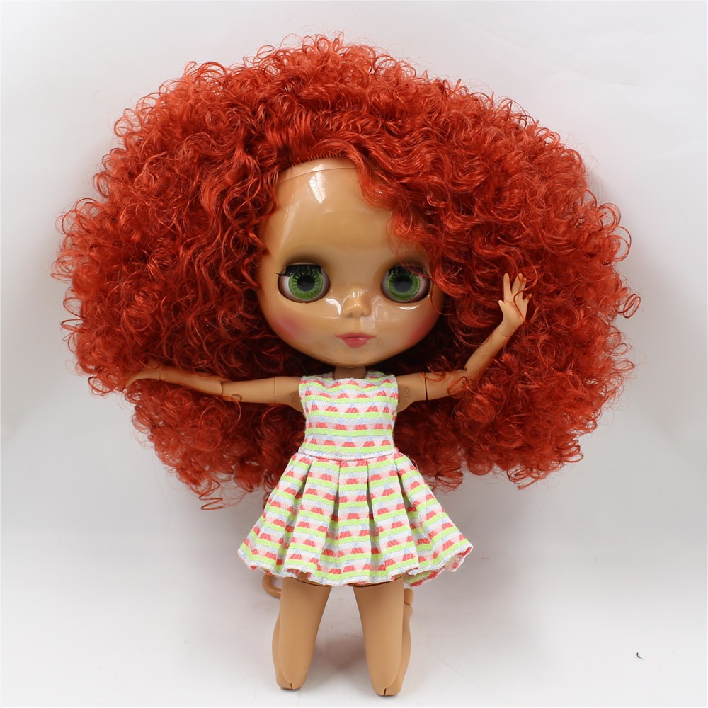Neo Blythe Doll with Red Hair, Dark Skin, Shiny Face & Jointed Body 3