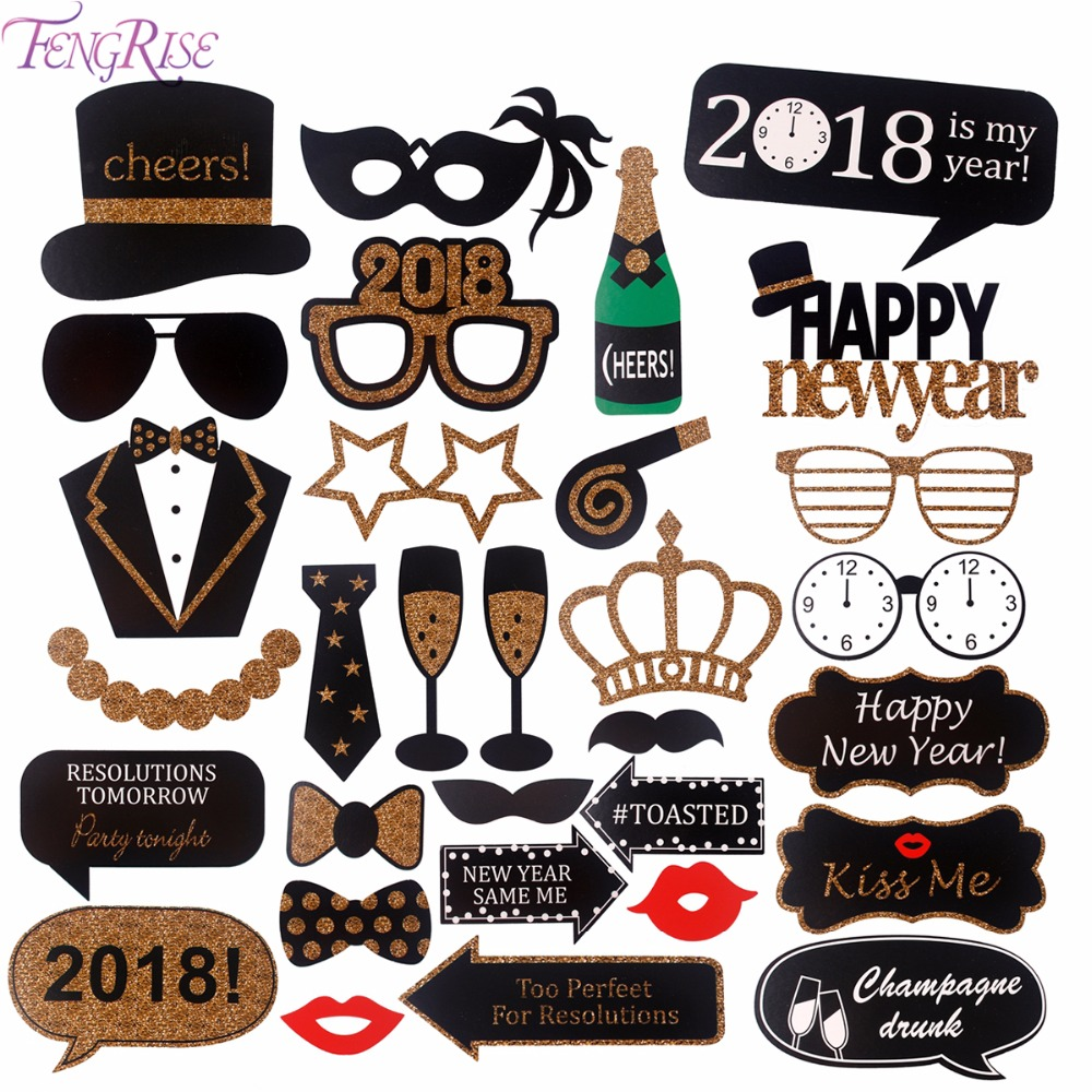 FENGRISE Happy New Year 2018 Photobooth Props DIY Photo