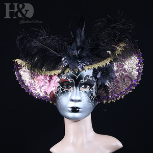 Image 3 - H&D Elegant Black Feather Hat Full Face Venetian Mask Halloween Masquerade Party Masks Italy Lady Mask Party Favor Gifts