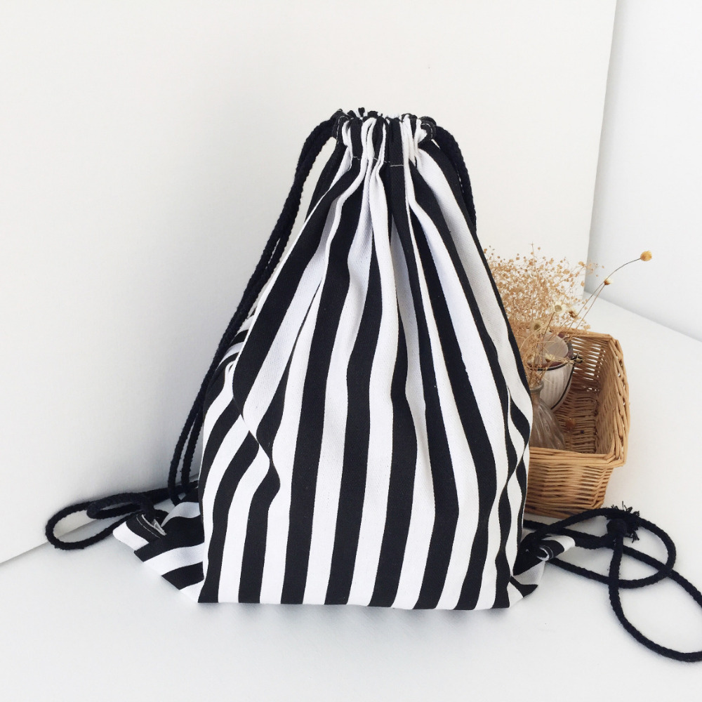 Causal Handmade Canvas Backpack Drawstring Light Canvas Shoulder Bag Black White Stripe Shoulder Bags