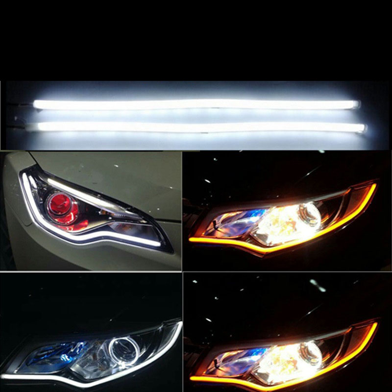 2pcs Car 60cm Daytime Running LED 12V Light Strip Flexible Soft Tube Guide For Headlight DRL White And Yellow Turn Signal Amber 2pcs 30cm angel eye daytime running light tube soft flexible car styling led strip drl white yellow blue red turn signal lights