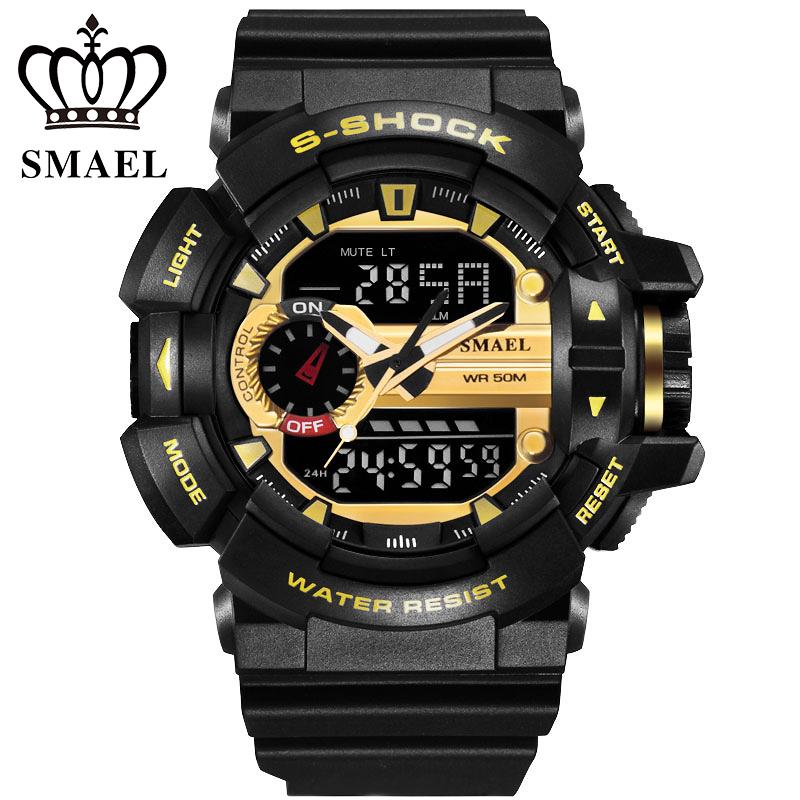 Prix pour Nouveau smael sport montres hommes noir or 30 m étanche plongée led numérique montre militaire montre à quartz relogio masculino ws1436
