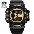 Nueva smael relojes deportivos hombres negro oro 30 m buceo impermeable led digital reloj militar reloj del cuarzo relogio masculino ws1436