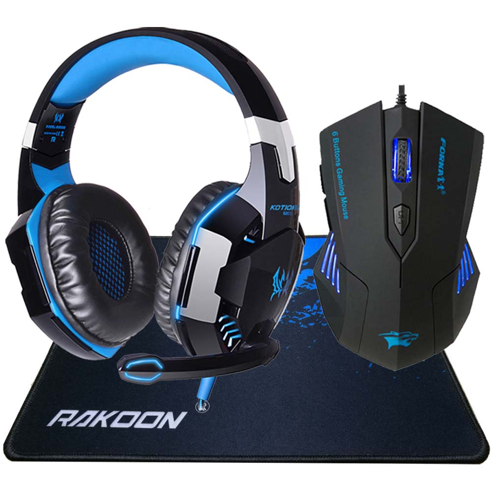 G2000 Cuffie da gioco stereo per computer Deep Bass Cuffie auricolari con microfono LED Light + Gaming Mouse + Gaming Mouse Pad