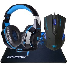 G2000 Computer Stereo Gaming Headphones Deep Bass Game Earphone Headset with Mic LED Light+Gaming Mouse+Gaming Mouse Pad