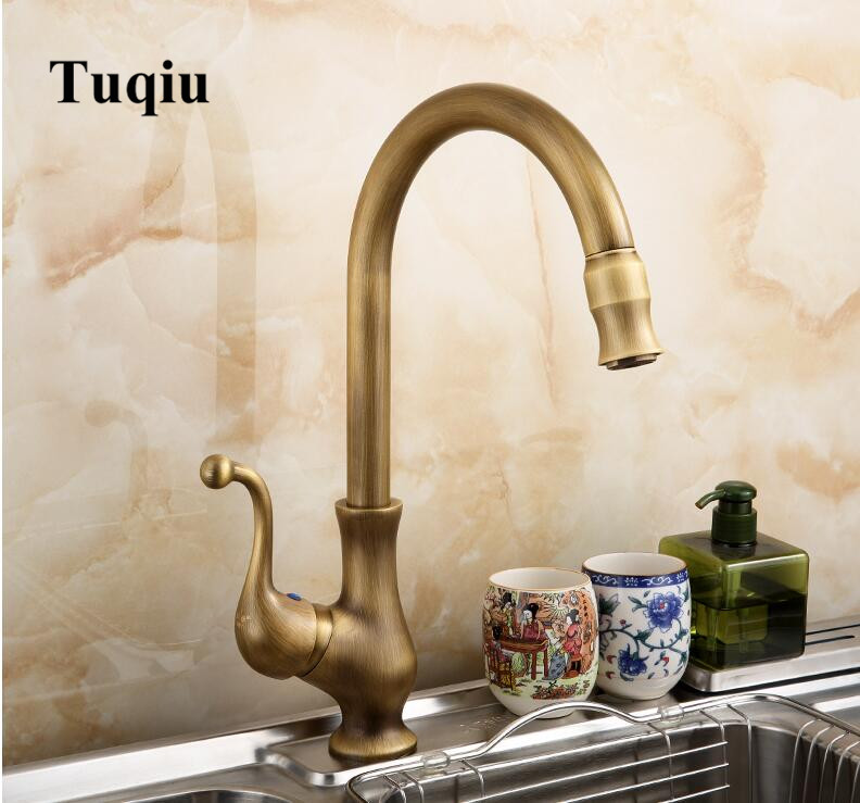 European High Quality Folding Kitchen Faucet Household: Bronze Single Lever Hot And Cold Kitchen Faucet Sink Tap