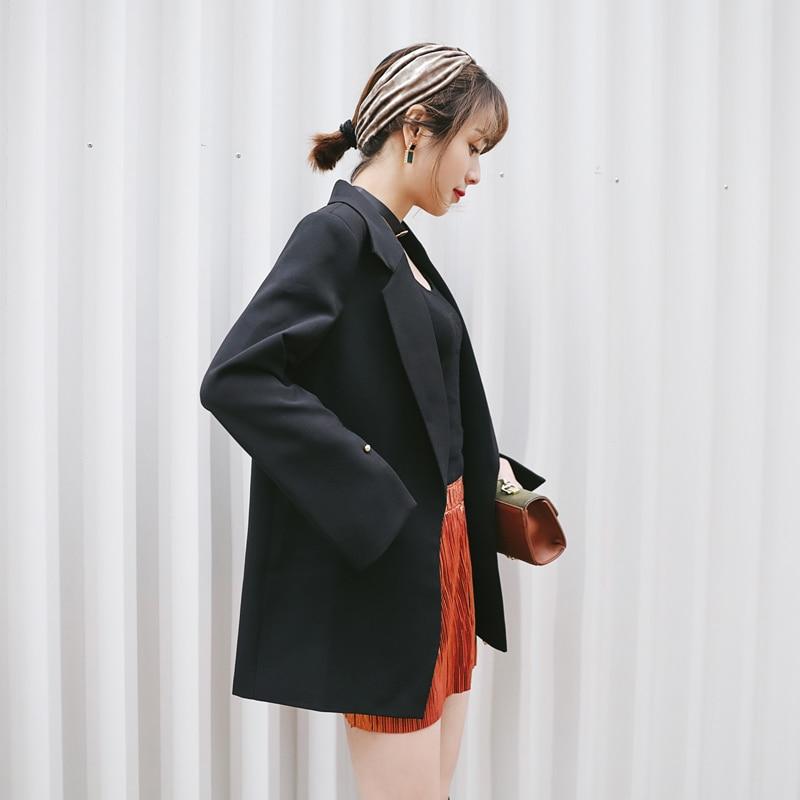 Casual coréen Petit Lâche Était Costume Marée Dames Femelle Black Nouvelle 2018 La Printemps Mince Dans Sauvage Longue Mode Femmes Section qXCIfwYxnB