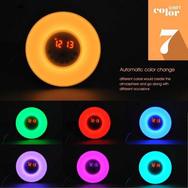 Dewel часы настольные цифровой будильник восход нового стиля  радио часы электронные настольные цветной будильник  с фукцией повтора