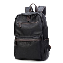 Wear-resistant Backpack Men Trendy Soft Leather Business Casual Daypack Laptop Travel Packsack Korean Style Fashion School Bag