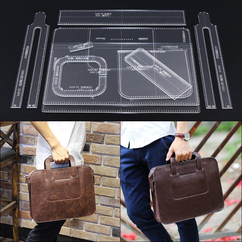 1 Set bricolage en cuir fait main artisanat hommes sac à main sac à bandoulière motif de couture Laser coupe acrylique gabarit