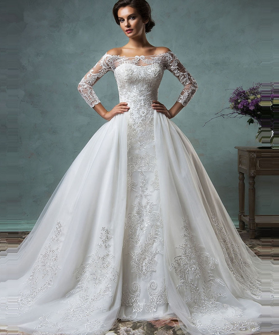 Alice Noiva 2018 Vintage Wedding Dress With Sheer Long