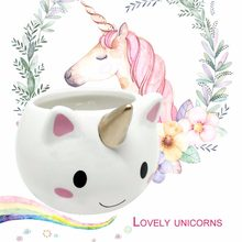 PREUP Cute Cartoon Unicorn-shaped Mug 3D Ceramic Coffee Cup With Colorful Handle for Home Office Unique Children Gift New(China)