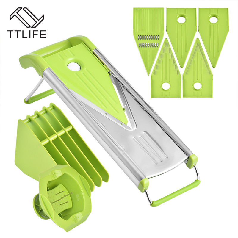 TTLIFE 2018 Nuovo Mandoline Slicer Carota Grattugia di Verdure Chopper Cipolla Cutter con 5 Lame Accessori Per la Cucina