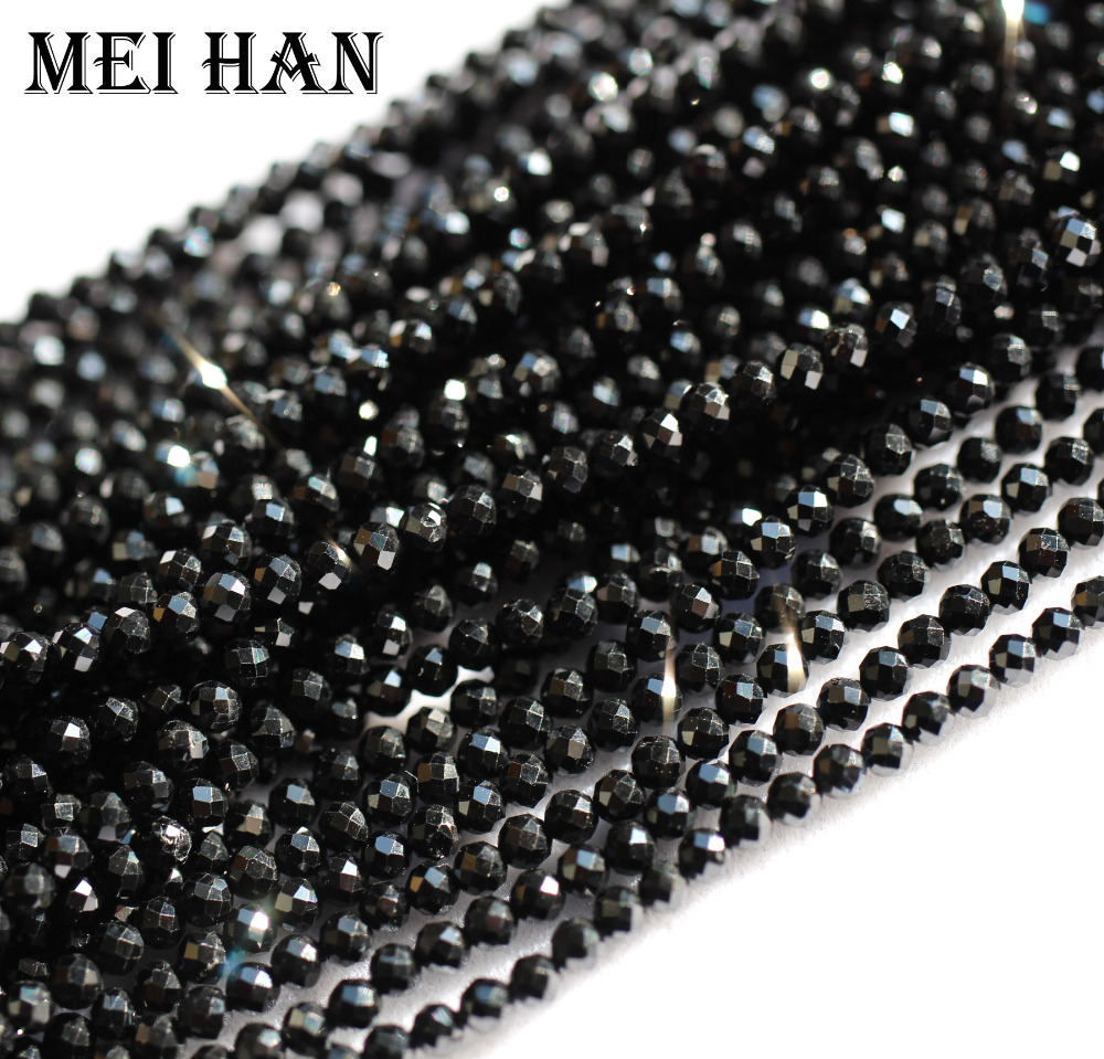 """13/"""" STR AAA 2MM FACETED BLACK SPINEL RONDELLE BEADS"""