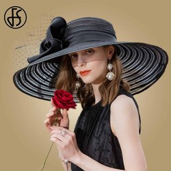 FS Black Wide Brim Hats For Women Elegant Wedding Big White Fedora With Feather Kentucky Derby Hat Large Bow Ladies Church Hats