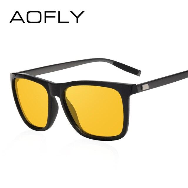 dc404d8e64 AOFLY Lentes de visión nocturna Polarizadas Amarillo Gafas de sol de Conducción  Hombres Mujeres Marca Gafas