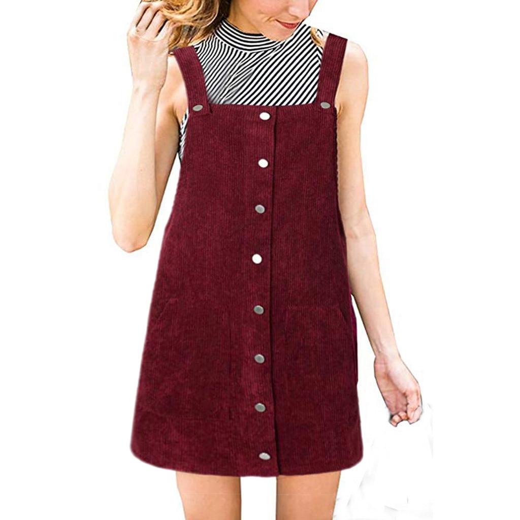 Jaycosin Women Dress Plus Size Corduroy Straight Suspender