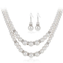 Vintage Simulated Pearl Jewelry Sets For Women Party Bridal Crystal Double Layer Necklace Earrings Set African Jewelry Set(China)