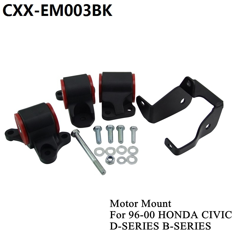 For 1996-2000 HONDA CIVIC D16 B16 B18 B20 Billet Aluminum SWAP MOUNTS EK D-SERIES B-SERIES CXX-EM003BK цена