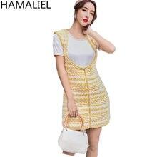 4651a33379 HAMALIEL Runway Designer 2 peça Set Vestido 2018 Outono Das Mulheres Camisa  Branca T + Amarelo Limão Tweed Xadrez Colete Bainha .