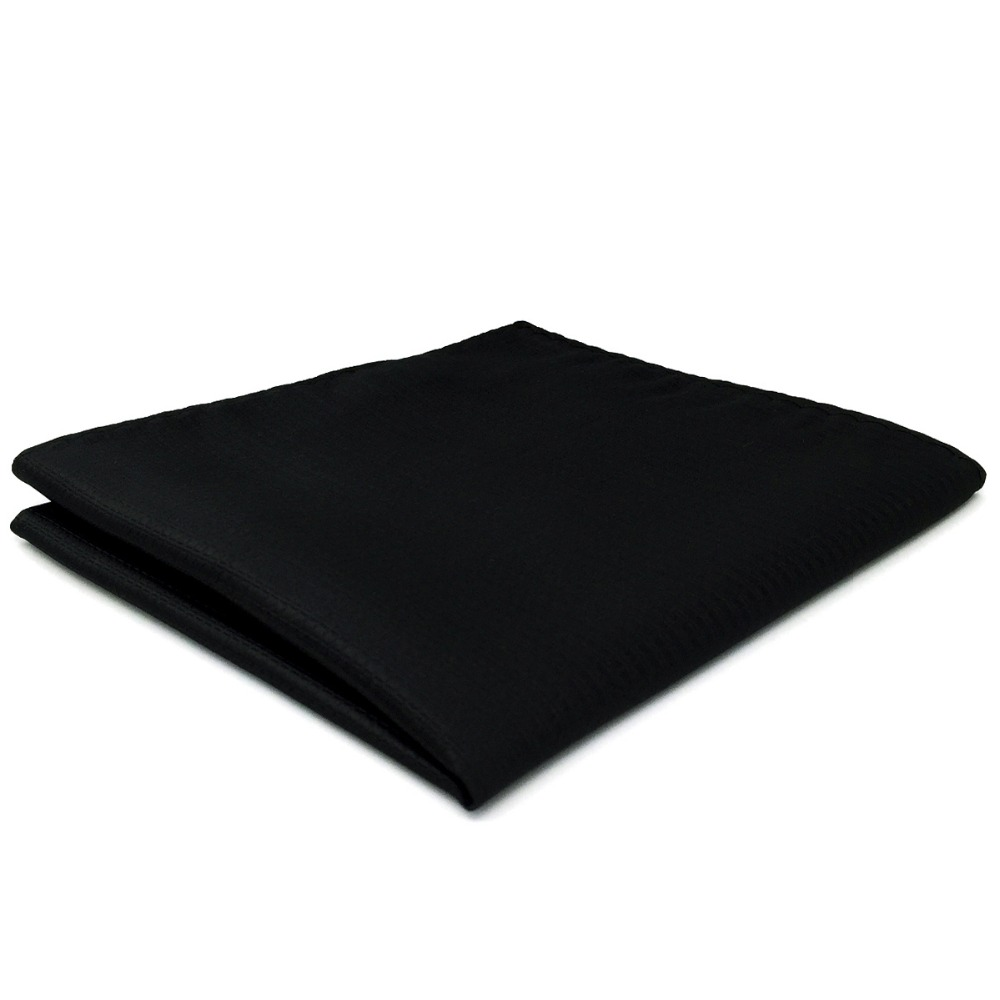CH28 Silk Solid Black Pocket Square For Men Fashion Hanky Handkerchief Large 12.6