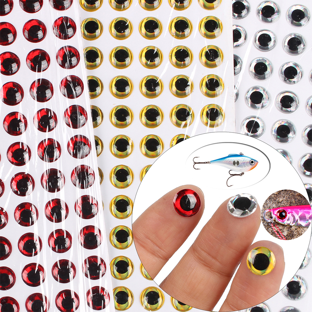 100pcs 3mm – 12mm 3D Epoxy Fishing Eyes Pupil Fishing Lure Eyes for Making Fishing Bait Fly Tying Streamers Lures Crafts