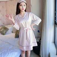 Women S Summer Long Sleeve Sleeping Skirt Sexy Comfortable Silk Satin Thin V Neck Nightgowns Sweet