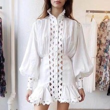 цена на Lantern Sleeve High Waist Bodycon Dress Women Spring Fashion Hollow Out Ruffle Hem Shirt Dress