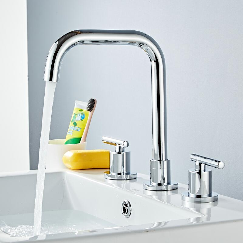Basin Faucets gold Sink Mixer North American style Bathroom Sink Faucet widespread 3 Hole Bathroom basin MixerBasin Faucets gold Sink Mixer North American style Bathroom Sink Faucet widespread 3 Hole Bathroom basin Mixer