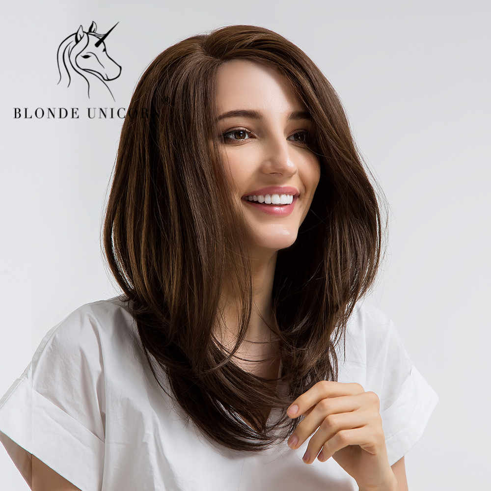 BLONDE UNICORN U Part Lace Front Wig Long Wig For Women Natural Straight Synthetic 18 Inch Hair Wigs High Temperature Fiber Chic