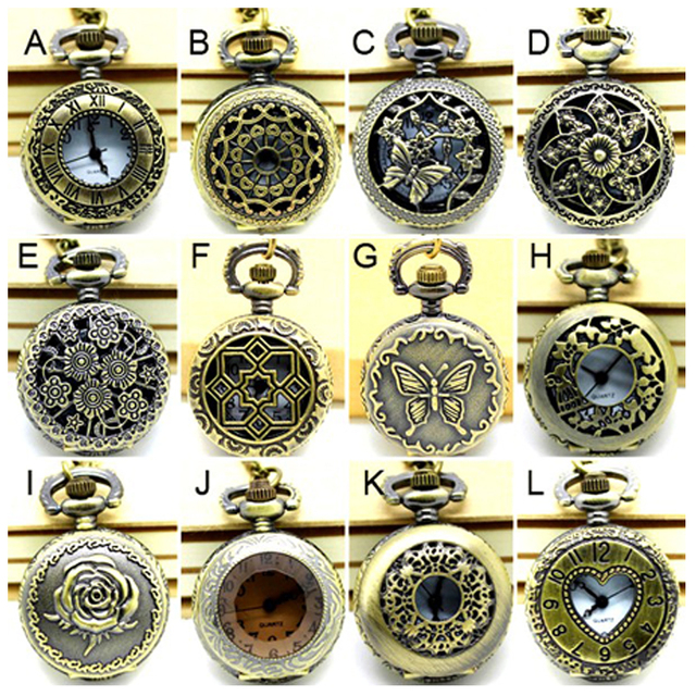 (APW005) Wholesale Vintage Bronze Small mixed 12 designs Pocket Watch Necklace,