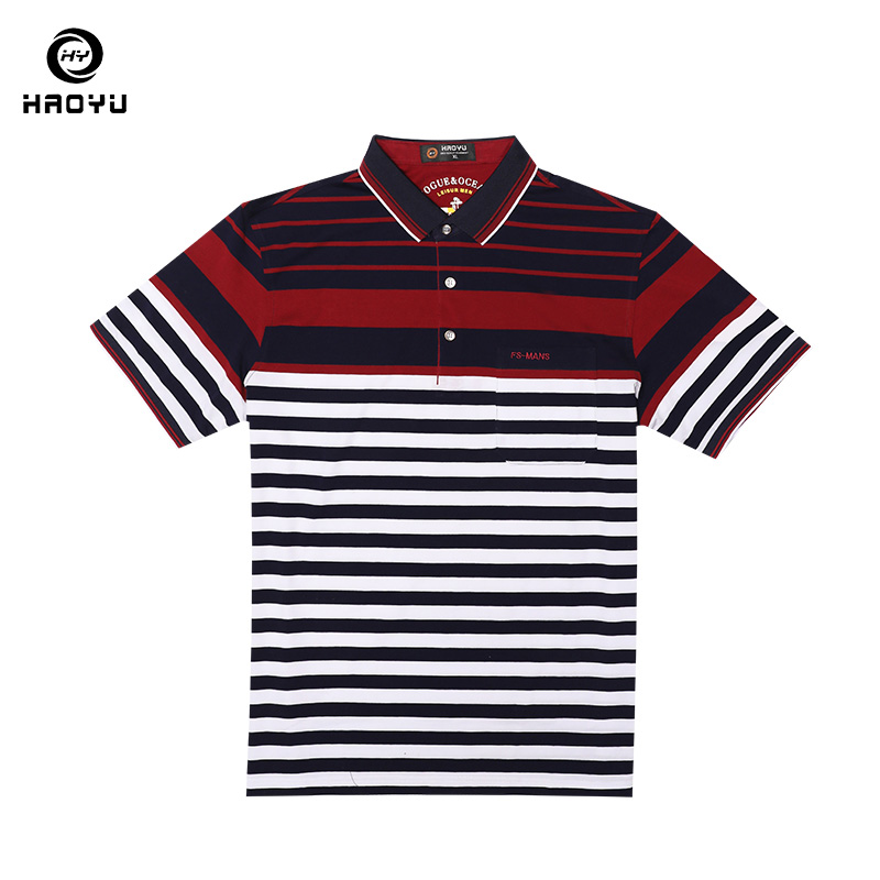 2018 New Arrival Men's Brand   Polo   Shirt Striped   Polo   High Quality Cotton Short Sleeves Casual Wear Anti-Wrinkle Big Size Haoyu