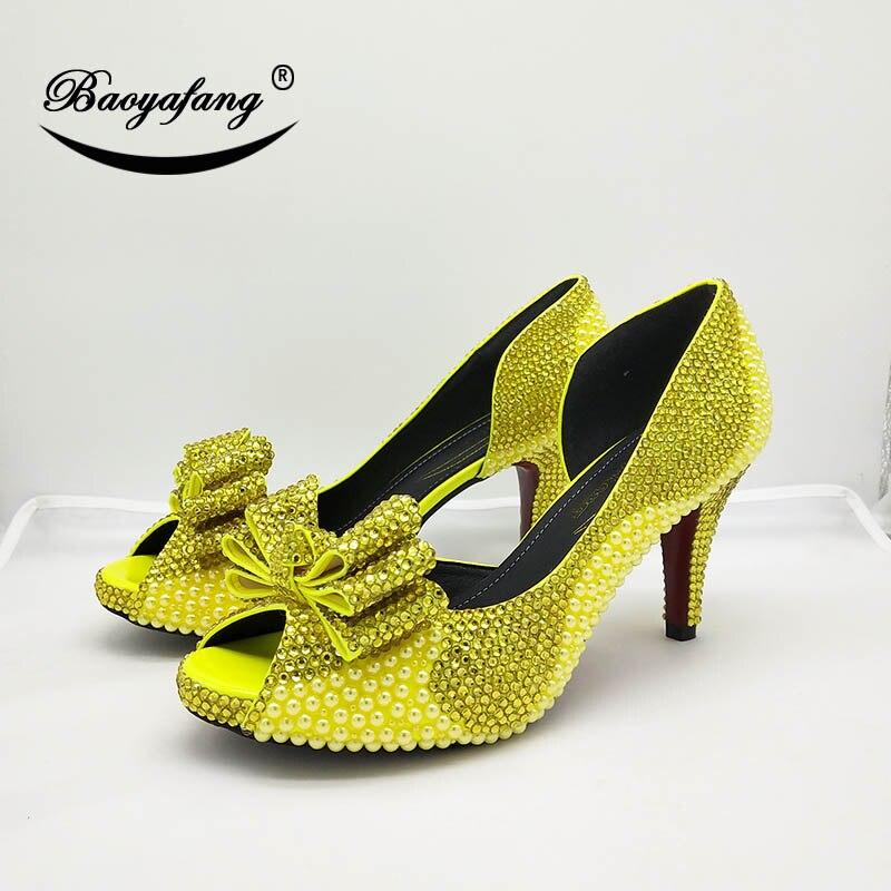 Robe Femmes Citron Peep Shoe Plate Bowtie Baoyafang Jaune forme Shoe Soirée 10cm Toe Chaussures Hauts À Perle Cristal 8cm Talons Femme De Nouvelle Mariage 5Iw56qPU