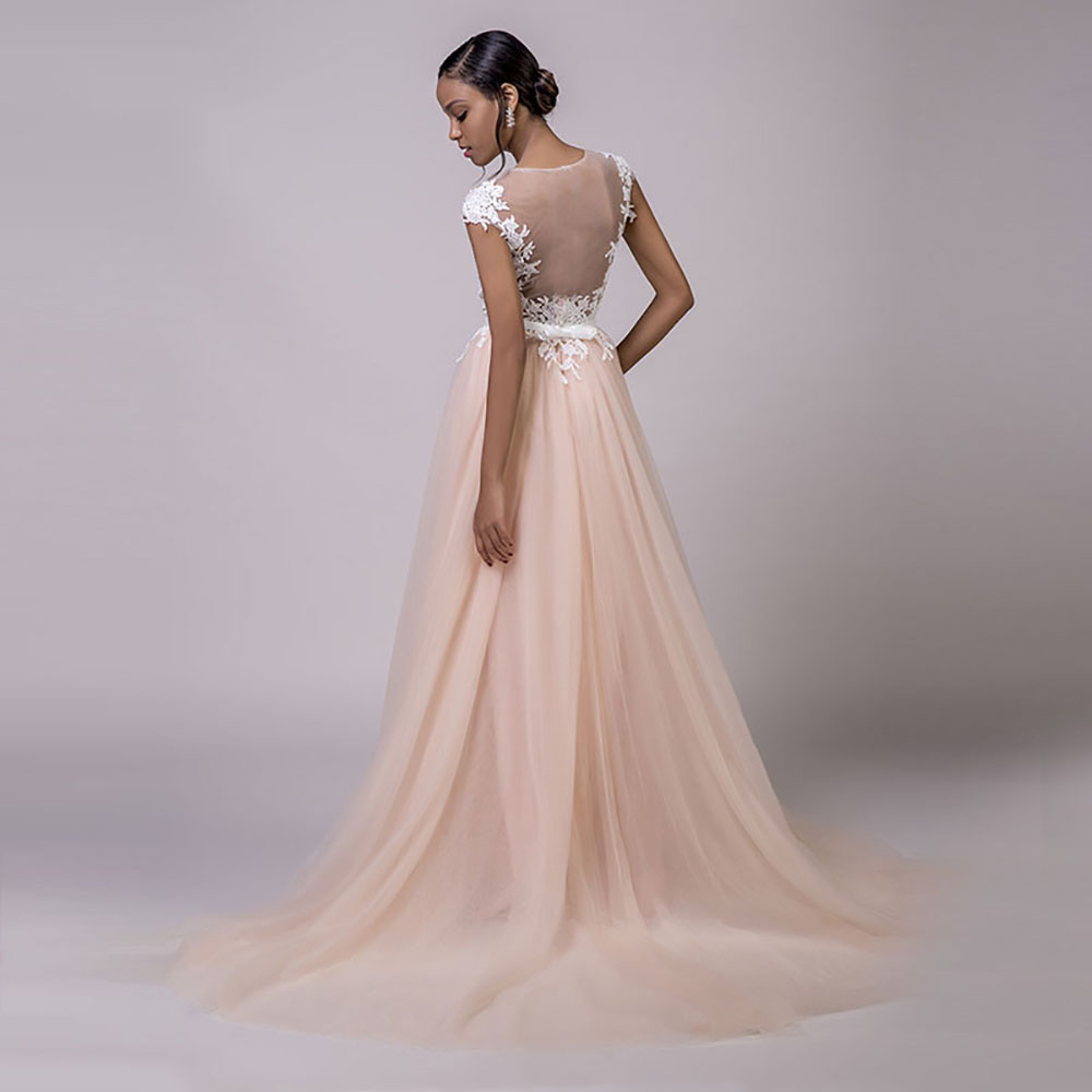 310588196d16 SoDigne Wedding dress 2018 Lace Appliques New Arrival Cap sleeves Romantic  Dresses Bridal Gown Nude Back Vestido De Novia Playa-in Wedding Dresses  from ...
