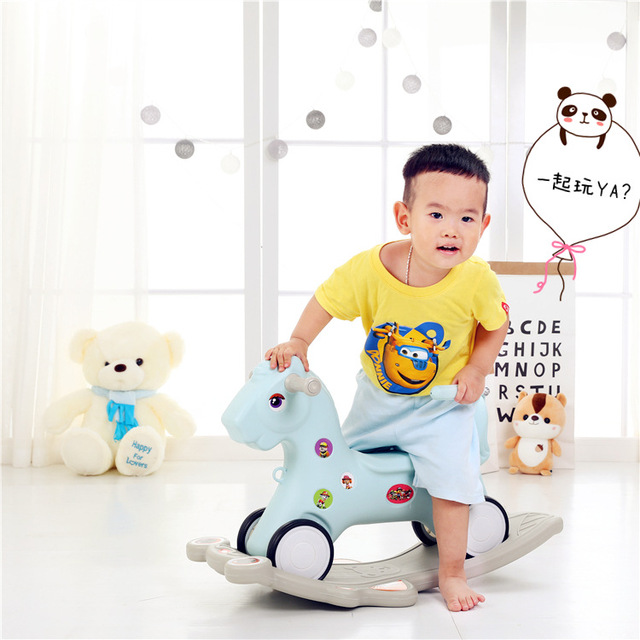 Free Shipping Large New Baby Rocking Horse  Children's Wooden Horse Rocking Chair with Music 2