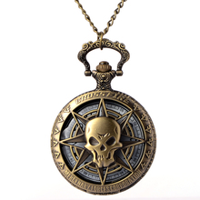 Vintage Bronze Steampunk Quartz Pocket Watch Hollow Carribean Pirate Skull Head Horror with Chain for Men Women Pendant necklace delicate skull hollow out pendant necklace for men