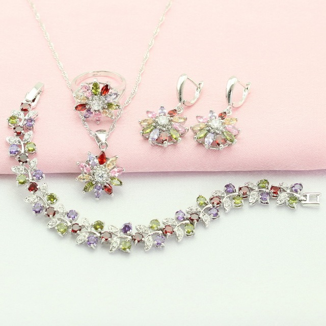 Flower Silver Plated Jewelry Sets Multicolor Stone For Women Crystal Drop Earrings/Bracelet/Necklace/Pendant/Ring Free Gift Box