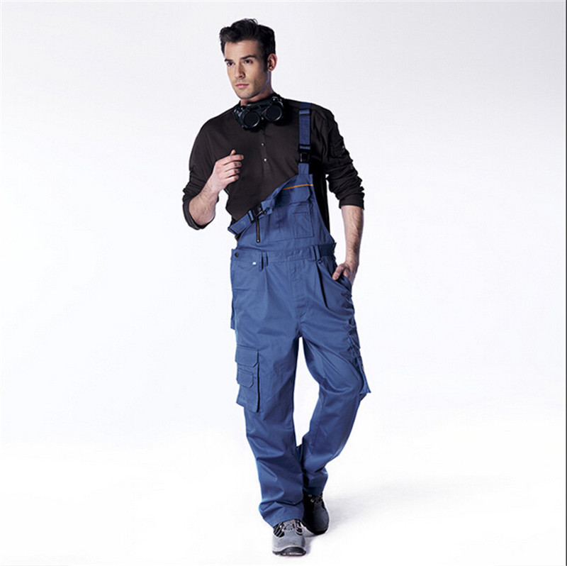 ФОТО Jumpsuit Men Pants Work Wear Bib Pants Tooling Uniform Jumpsuits Loose Casual Overalls Plus Size M L XL XXL XXXL