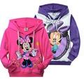 2016 minnie mouse ropa para niñas niños otoño primavera de manga larga casual t-shirt sudadera con capucha