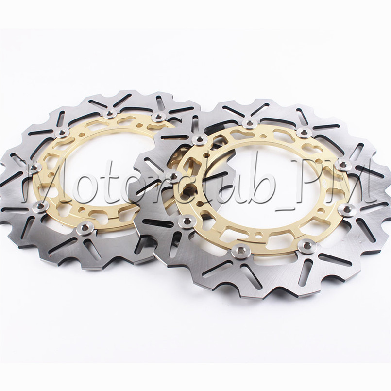 Motorcycle Front Brake Disc Rotors Set For Yamaha YZF R1 1998-2003 YZF R6 1999-2002 YZF600R THUNDERCAT 1996-2007 Gold mfs motor motorcycle part front rear brake discs rotor for yamaha yzf r6 2003 2004 2005 yzfr6 03 04 05 gold