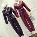 Estilo europeo 2 unidades set mujeres pesado taladro del clavo perspectiva camisa + falda traje de las mujeres conjunto