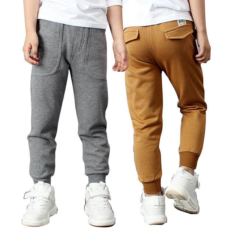 Boys Stretch Long Pencil Casual Pants Kids Polyester Bottom Elastic Waist Slacks