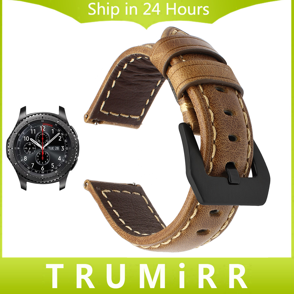 Galleria fotografica 22mm Quick Release Genuine Leather Watchband for Samsung Gear S3 Classic Frontier R760 R770 Smart Watch Band Steel Buckle Strap