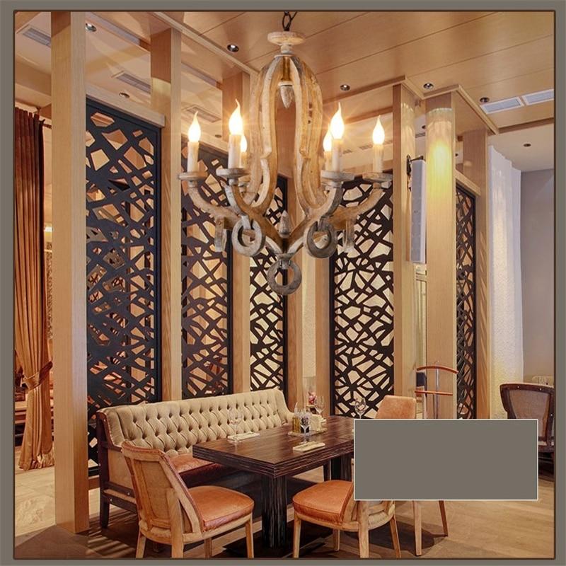 6 Lights Wood Pendant Lights Art Deco Drop Light Vintage Pendant Lamp Retro nostalgia Living Room Hotel Light Fitting