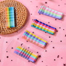 10PCS/Card Macaroon Children Hair Barrettes Candy Color Cute Bangs Clip For Girl Alloy Wavy  Curved Accessories