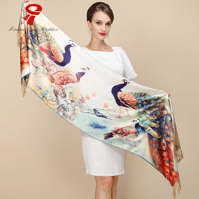 Lenço de seda de Cetim 100% Seda Longo Cachecol Cachecol macio Mulheres xales de Luxo Qualidade de Impressão Scarve Xale De Seda Da Marca de grande porte hijab