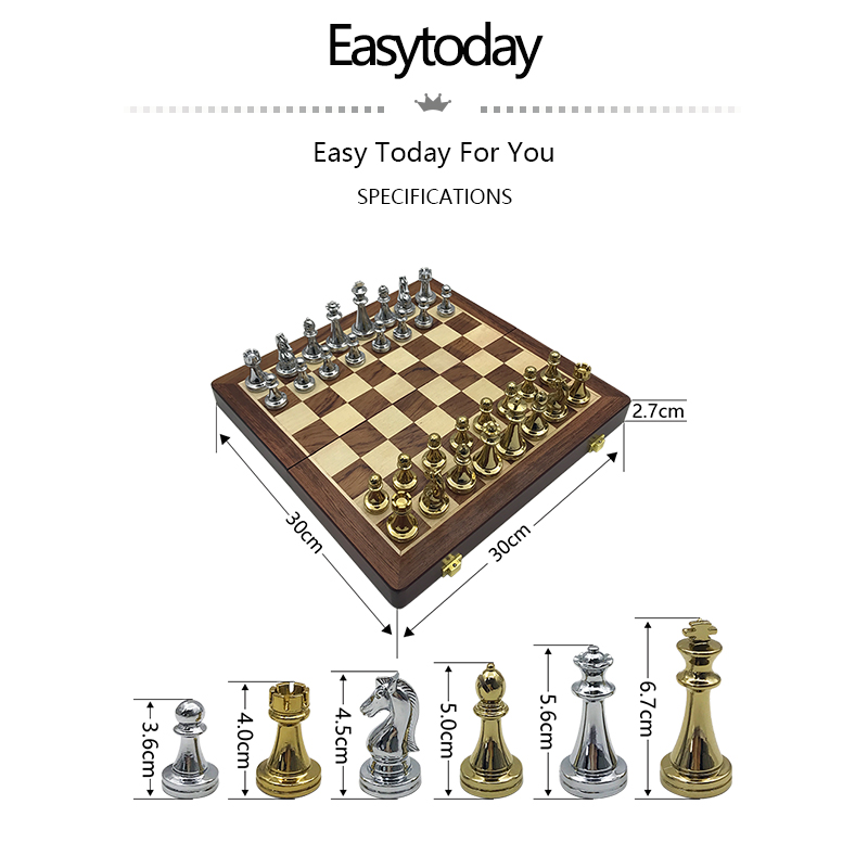 Easytoday Metal Glossy Golden And Silver Chess Pieces Solid Wooden Folding Chess Board High Grade Professional Chess Games Set 1