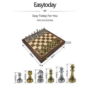 Image 2 - Easytoday jeu déchecs professionnel, pièces brillantes, en métal doré et argenté, échiquier pliant en bois massif de haute qualité